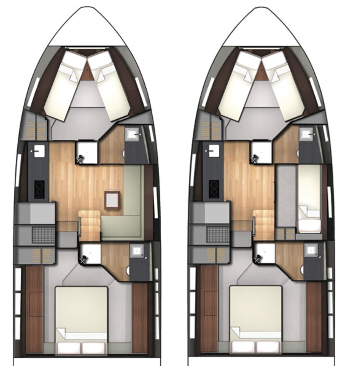 Fairline Targa 48 Open layout options