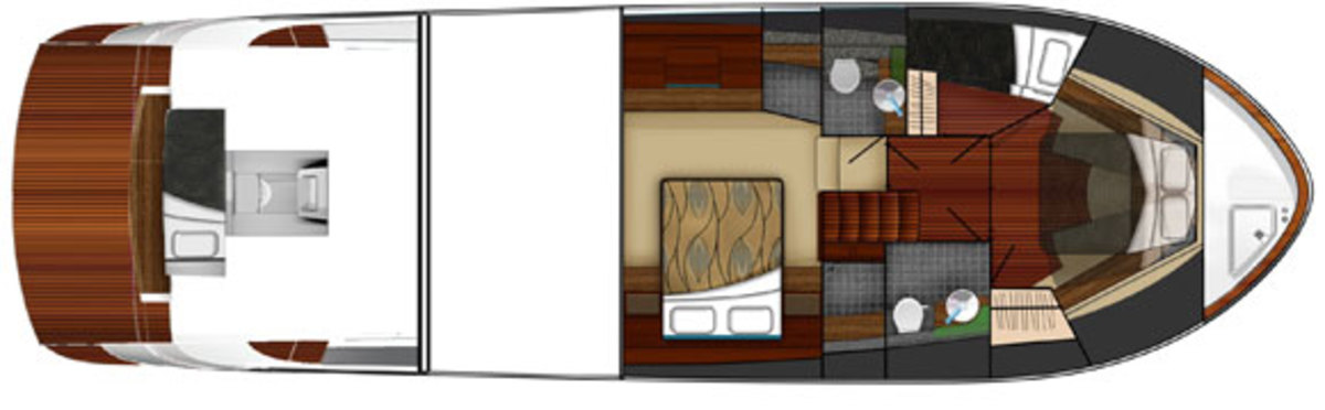 Tiara 50 Coupe layout diagram - lower deck