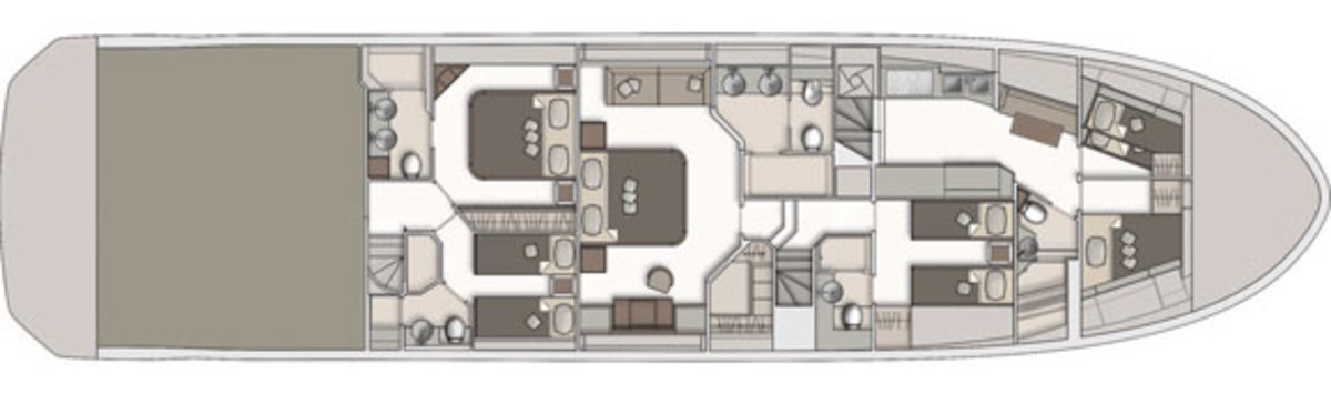 Monte Carlo Yachts 86 lower deck layout diagram