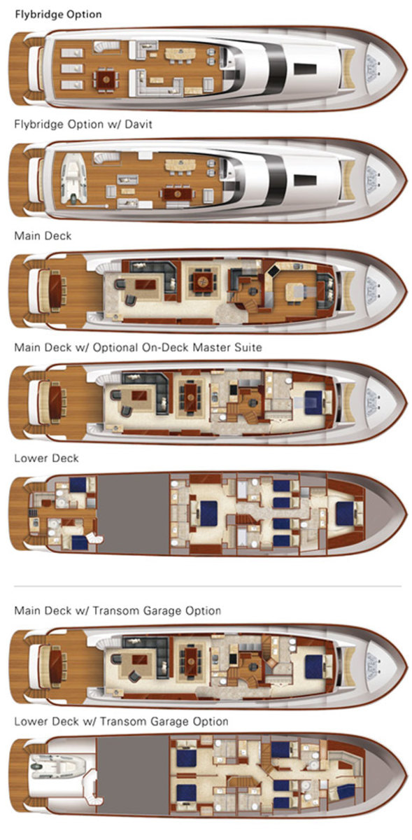 Hatteras 100 Raised Pilothouse deckplans