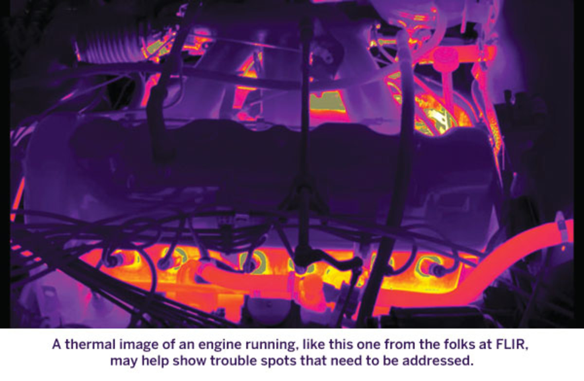 A thermal image of an engine running