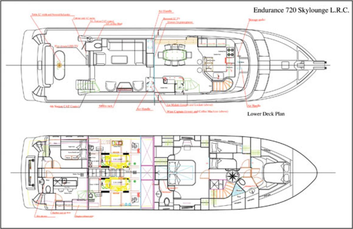 Hampton Endurance 720 deck plans