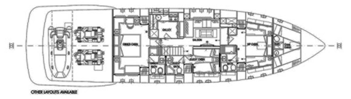 Mangusta 94 deck plans - layout options