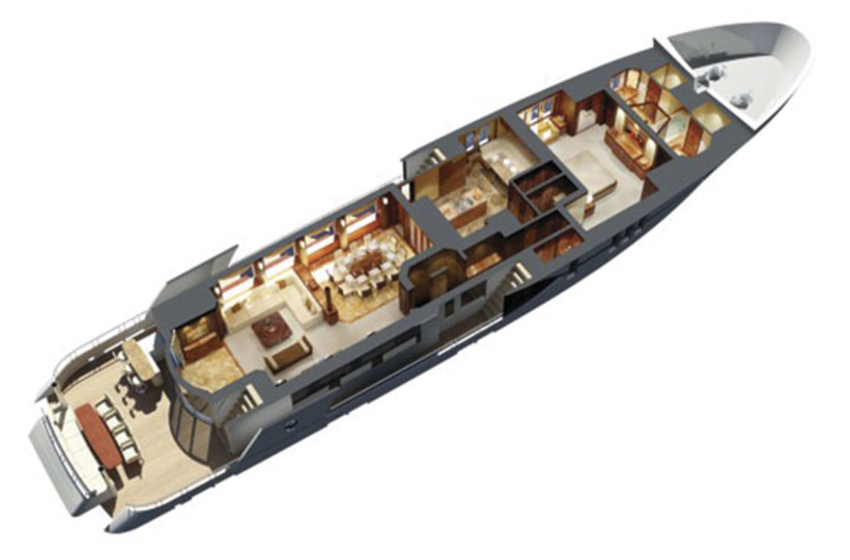 Ocean Alexander 120 layout diagram - main deck level