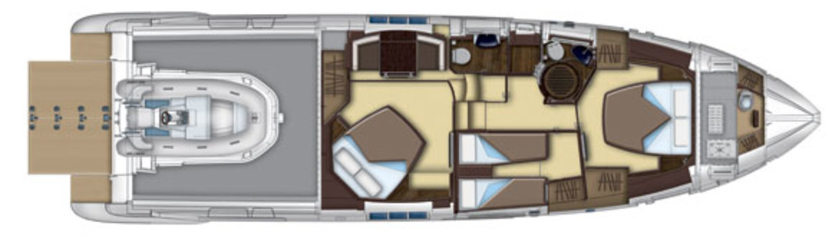 Azimut 55S lowerdeck with garage layout diagram