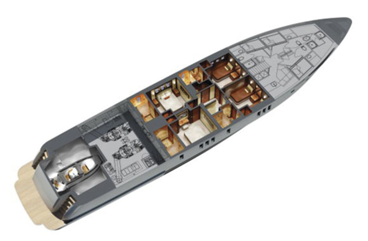 Ocean Alexander 120 layout diagram - lower level