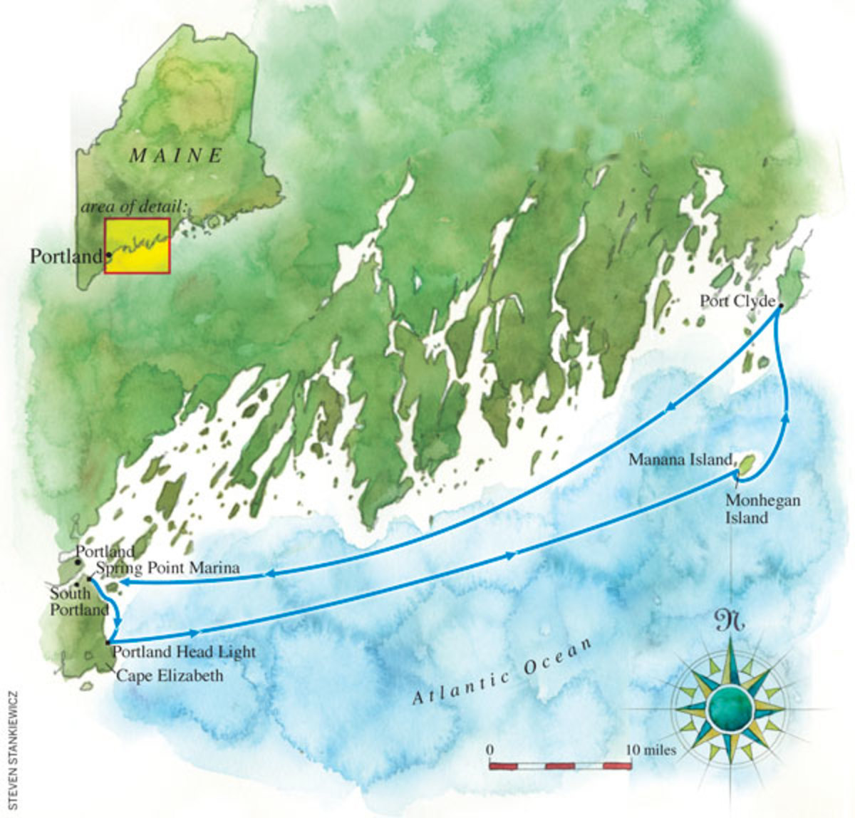 Map of route to Monhegan Island