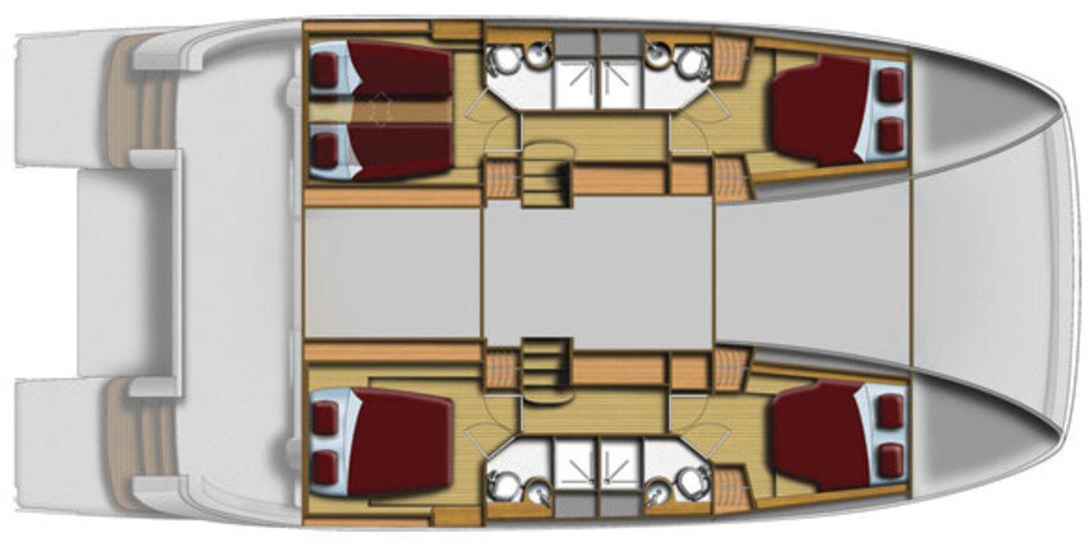MarineMax 484 - cabins deck layout diagram