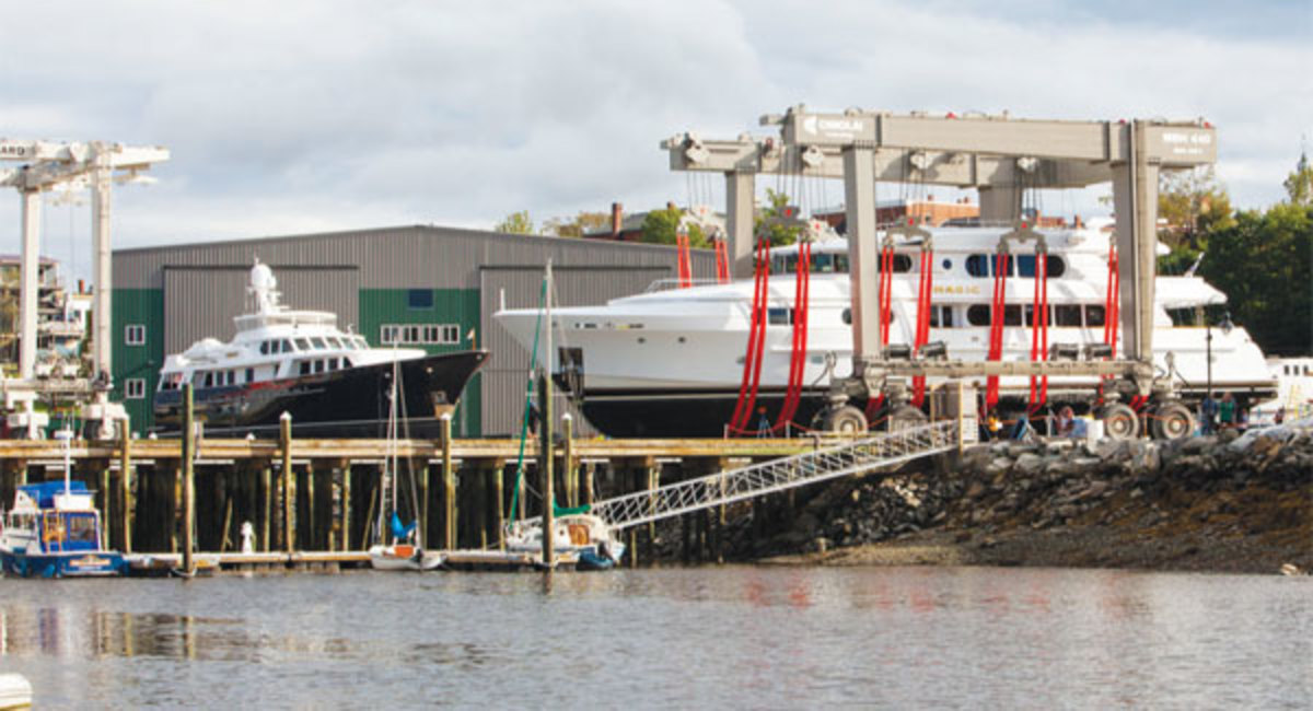 Boats large and small come to Front Street Shipyard for service and repair.
