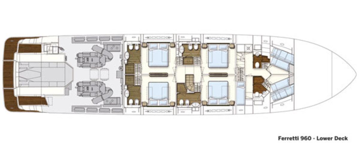 Ferretti 960 lower deck layout