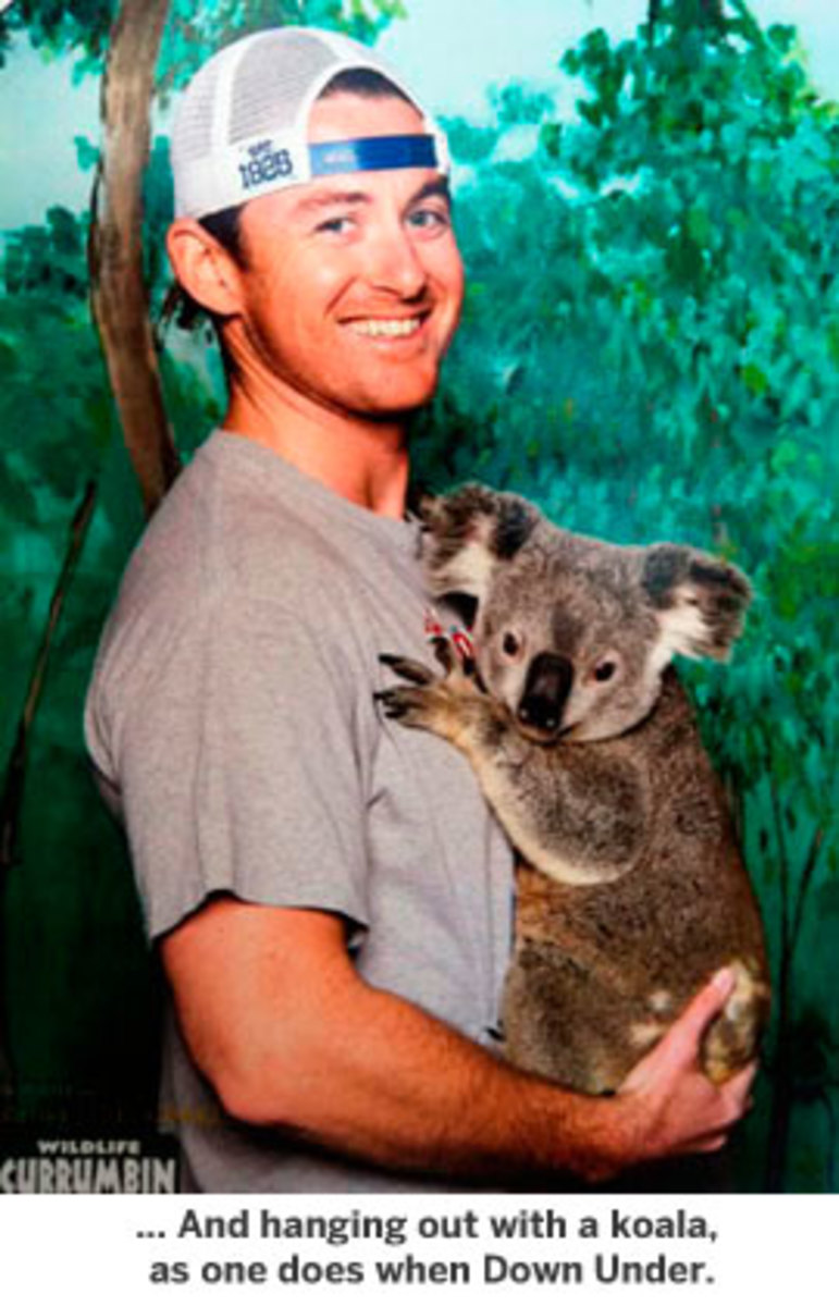 hanging out with a koala, as one does when Down Under.