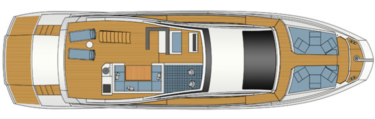 Astondoa 72 GLX layout diagram - Sundeck