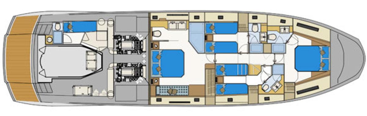 Astondoa 72 GLX layout diagram - Lower deck