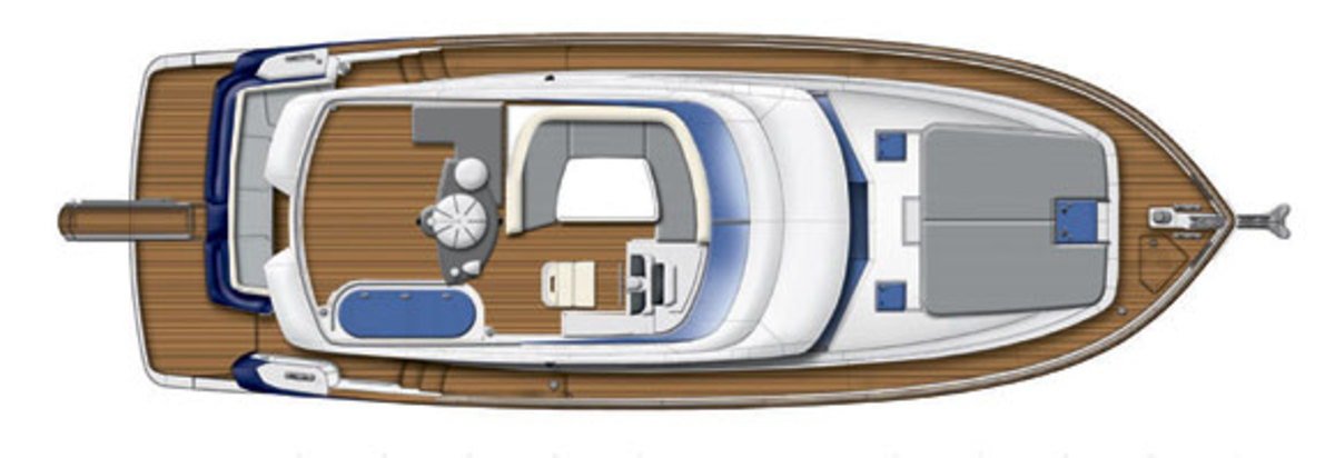 Azimut Magellano 43 - flybridge layout diagram