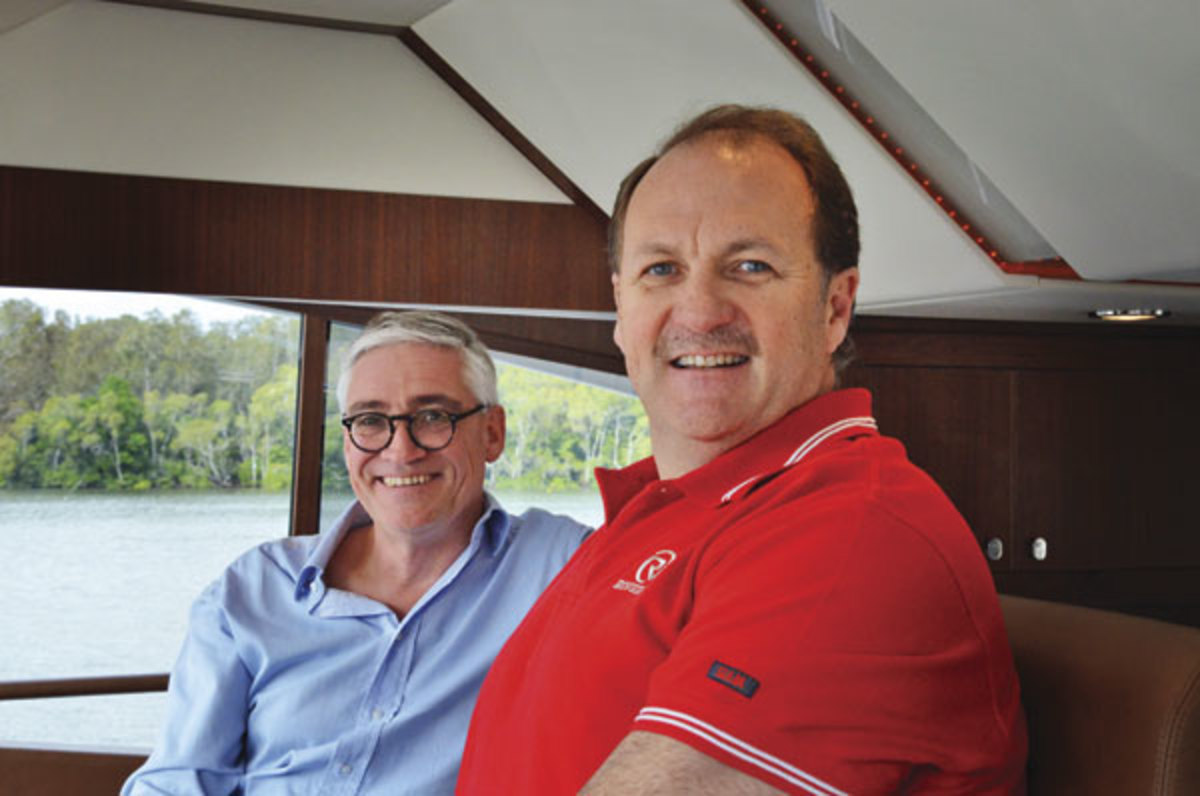 Riviera Yachts' CEO Wes Moxey and Director of Brand and Communications Stephen Milne