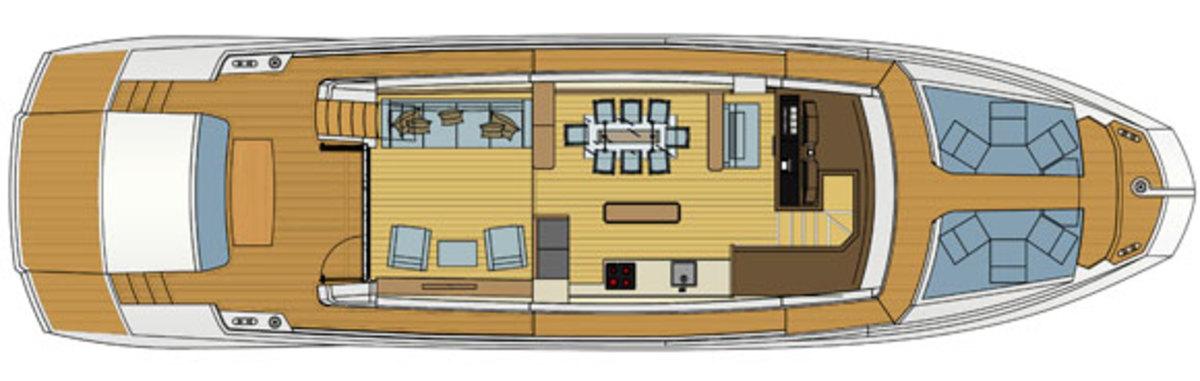 Astondoa 72 GLX layout diagram - Main deck