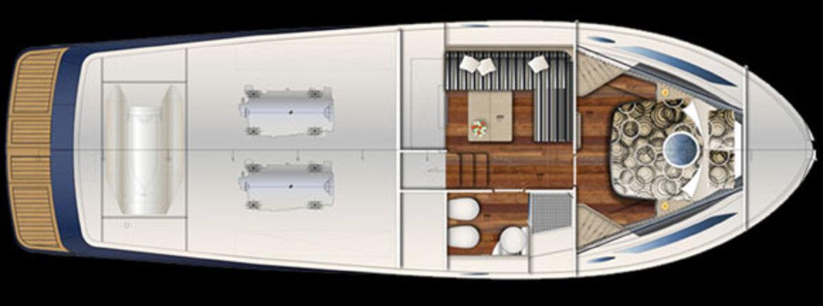 Austin Parker 42 Open layout diagram - lower deck - layout option 1