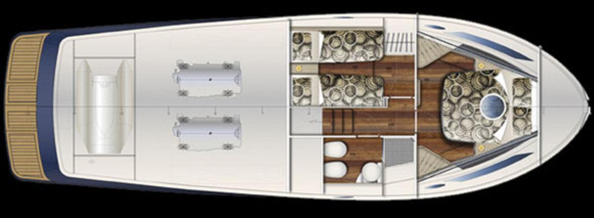 Austin Parker 42 Open layout diagram - lower deck - layout option 2