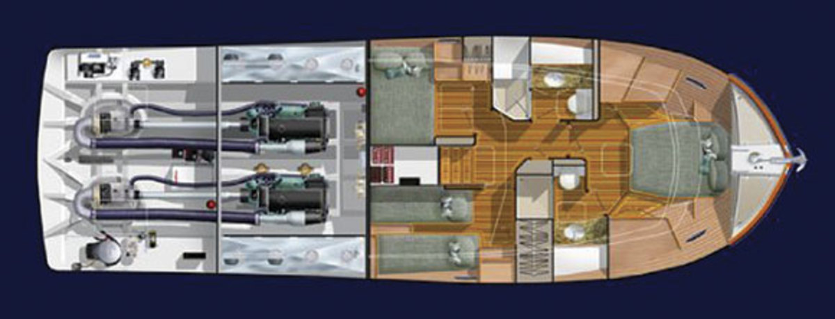 Salish Sea 48 - lower deck layout diagram
