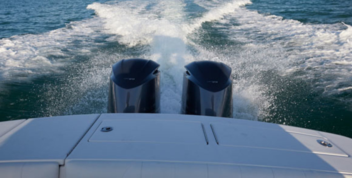 a pair of 200-horsepower Yamaha four-stroke outboards