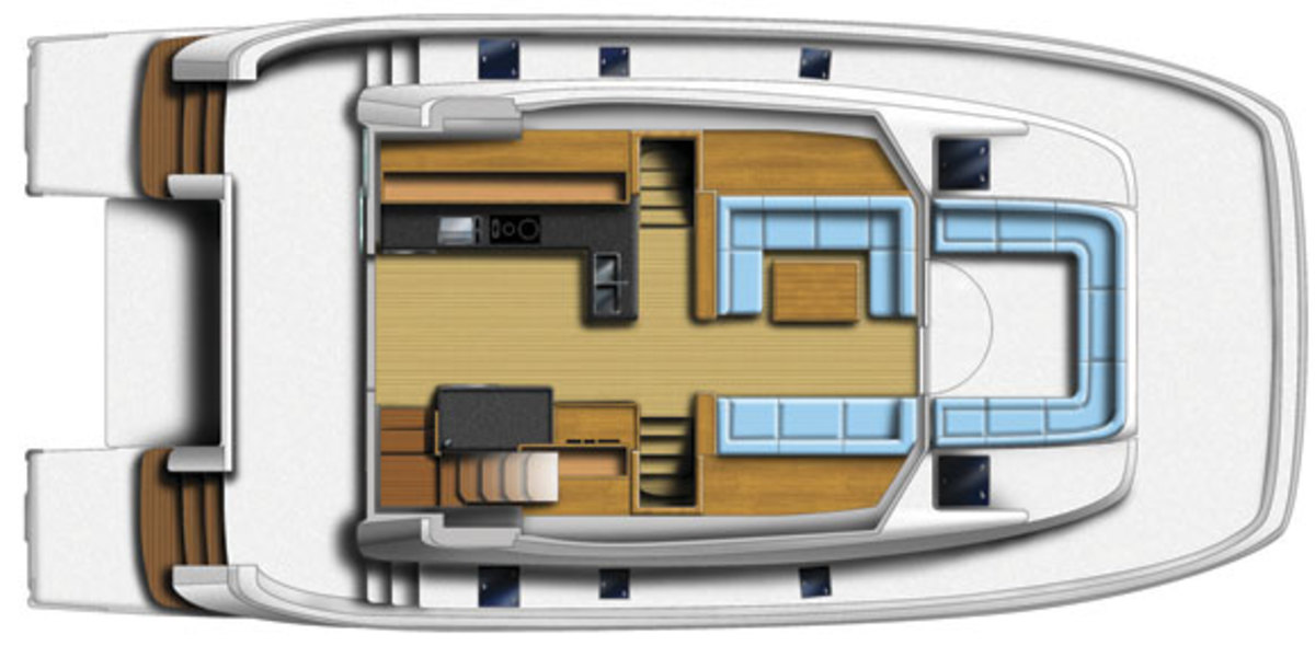 MarineMax 484 - main deck layout diagram