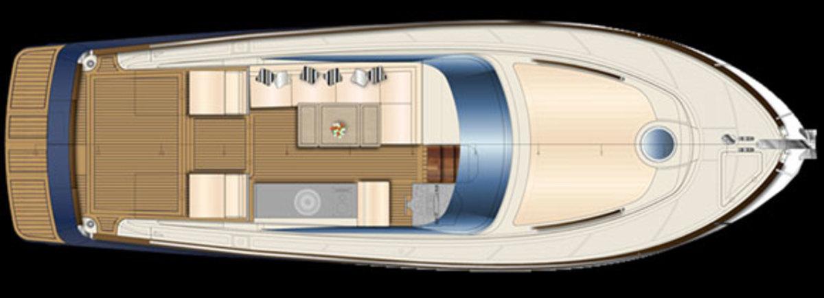 Austin Parker 42 Open layout diagram - main deck