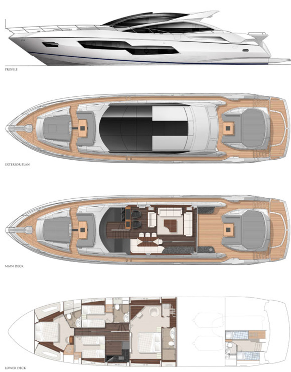 Sunseeker Predator 80 layout diagrams