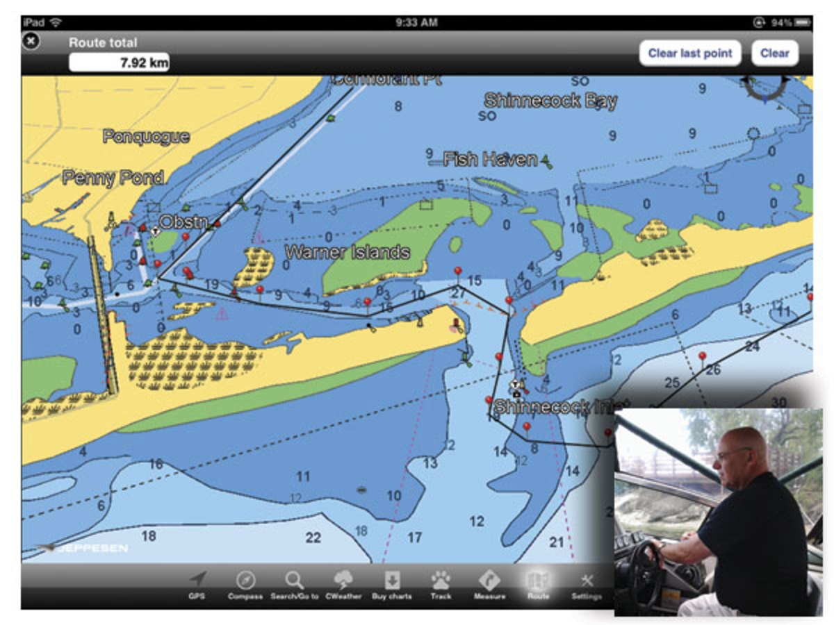 Great Lakes boater Tim Wenham uses C-MAP software to chart his course in advance, using a waypoint just outside his marina as a jumping-off point for every cruise.