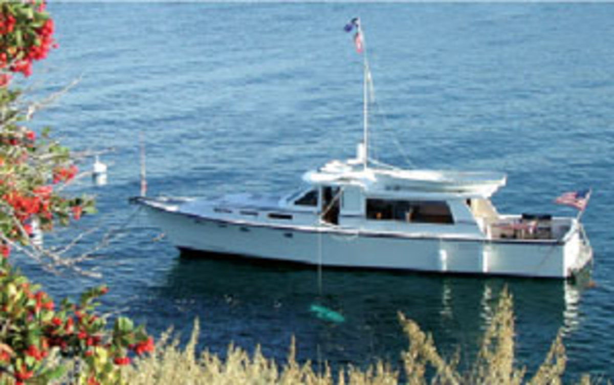 The 48-foot Peters-designed Sarissa sits at rest on a mooring.