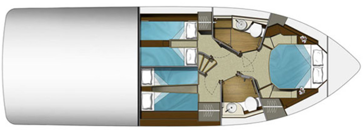 Galeon 420 Fly - layout diagram - lower deck