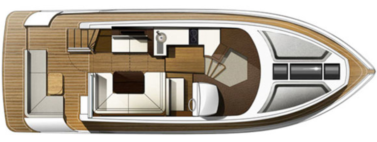 Galeon 420 Fly - layout diagram - main deck