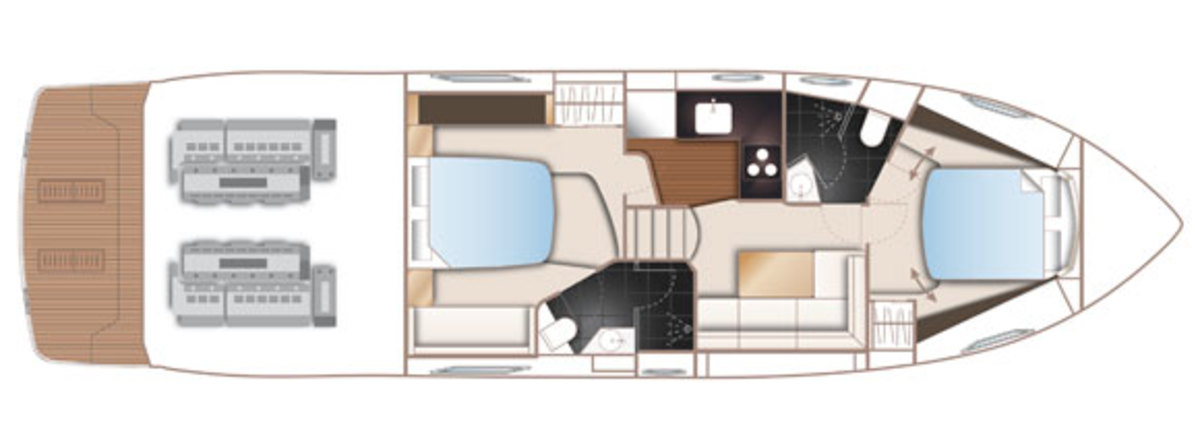 Princess V48 deck plans - lower deck
