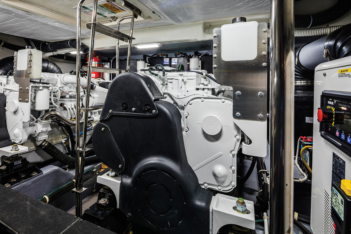 Engine room on the Carver C52 Command Bridge