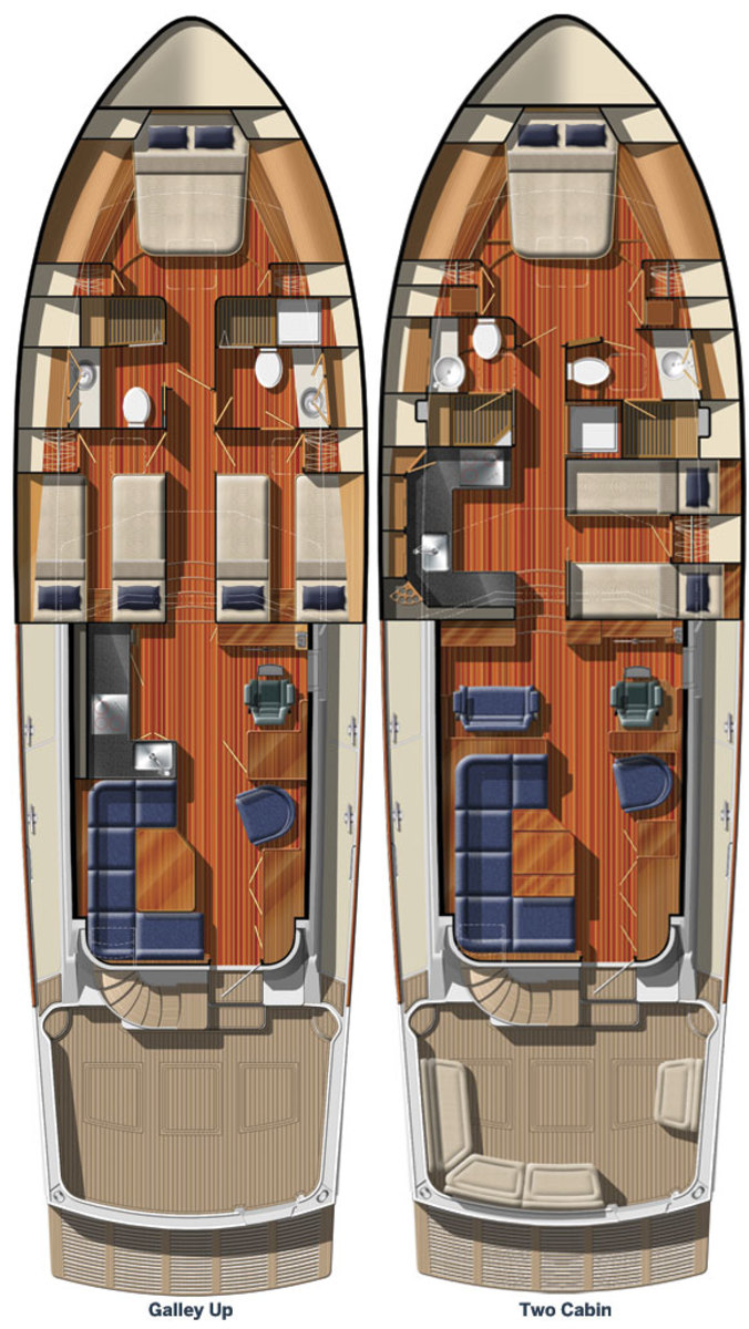 Grand Banks 55 Eastbay FB - 2 layout options