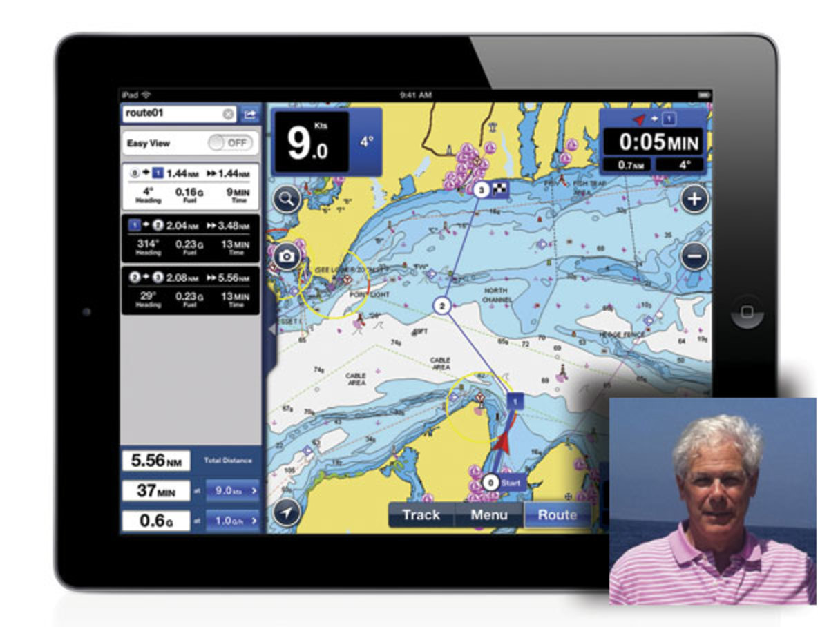 Charles Cohen uses Navionics route-planning software to help calculate his fuel burn for each cruising leg.