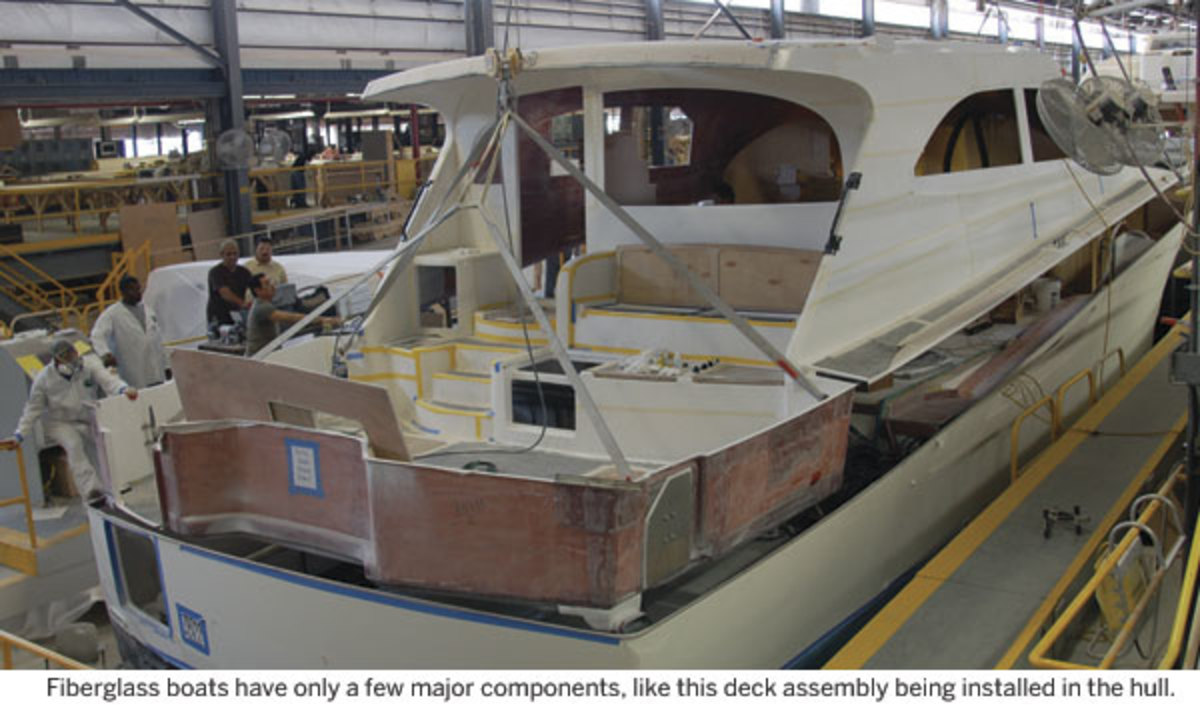 Fiberglass boats have only a few major components, like this deck assembly being installed in the hull.