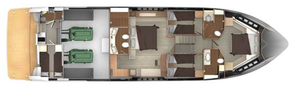 Absolute 72 Fly - Lower deck layout plans
