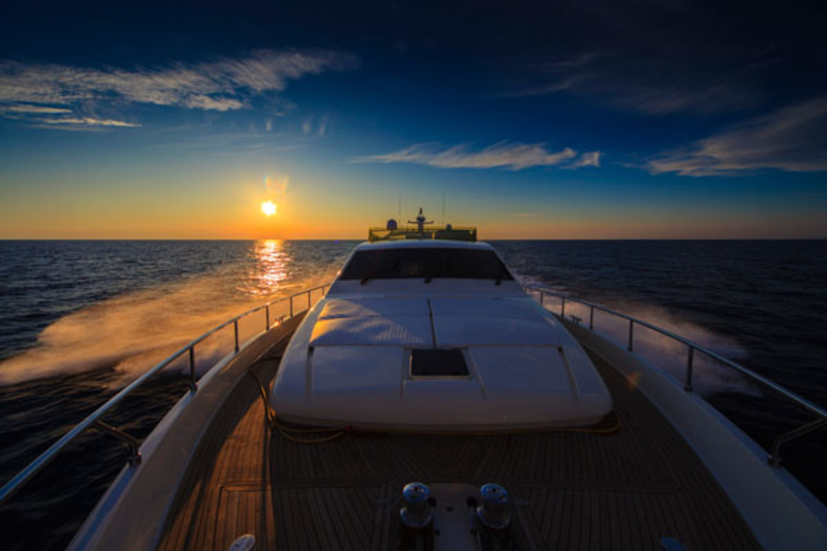 Photo by Kevork Voskeritchian on a Ferretti 68 cruising the Aegean Sea.