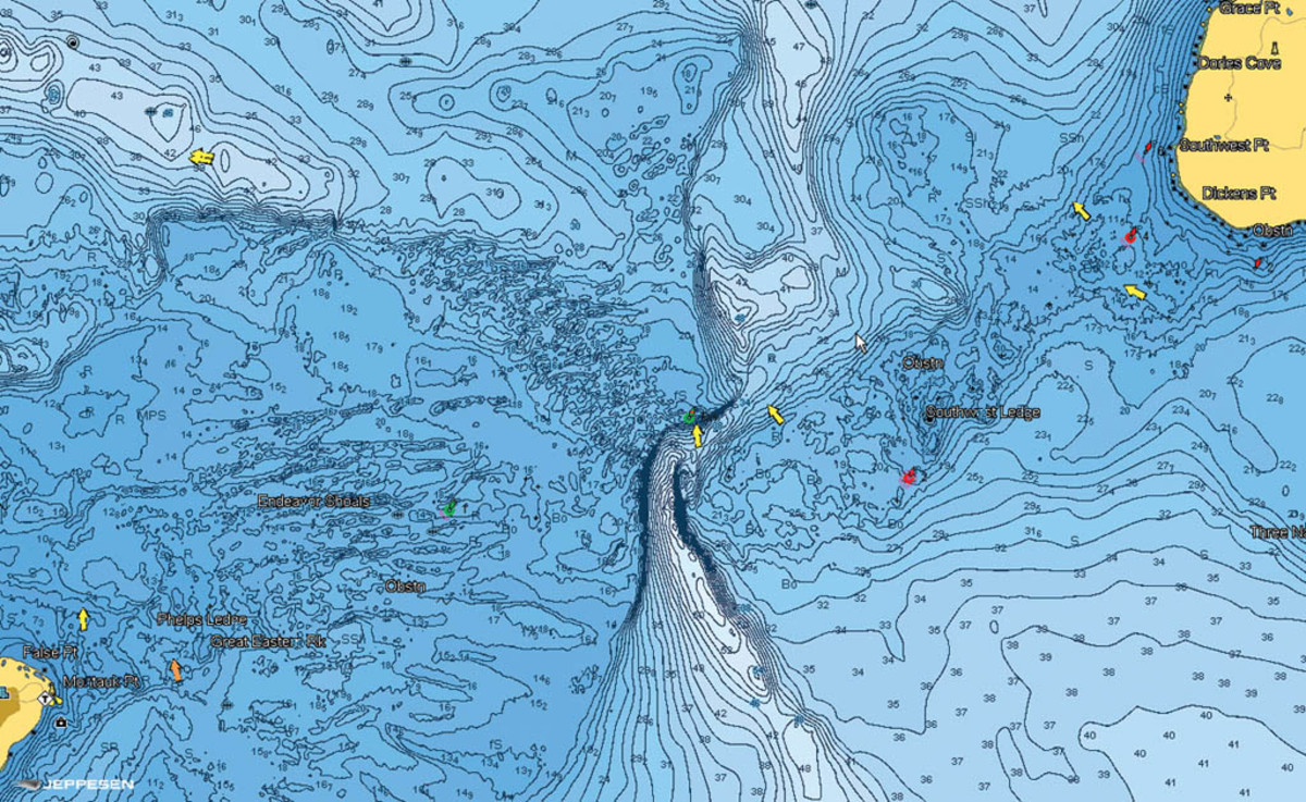 C-Map 4D: Contour lines have been compiled from various hydrographic sources to provide a more accurate picture of the sea floor.  Click to enlarge