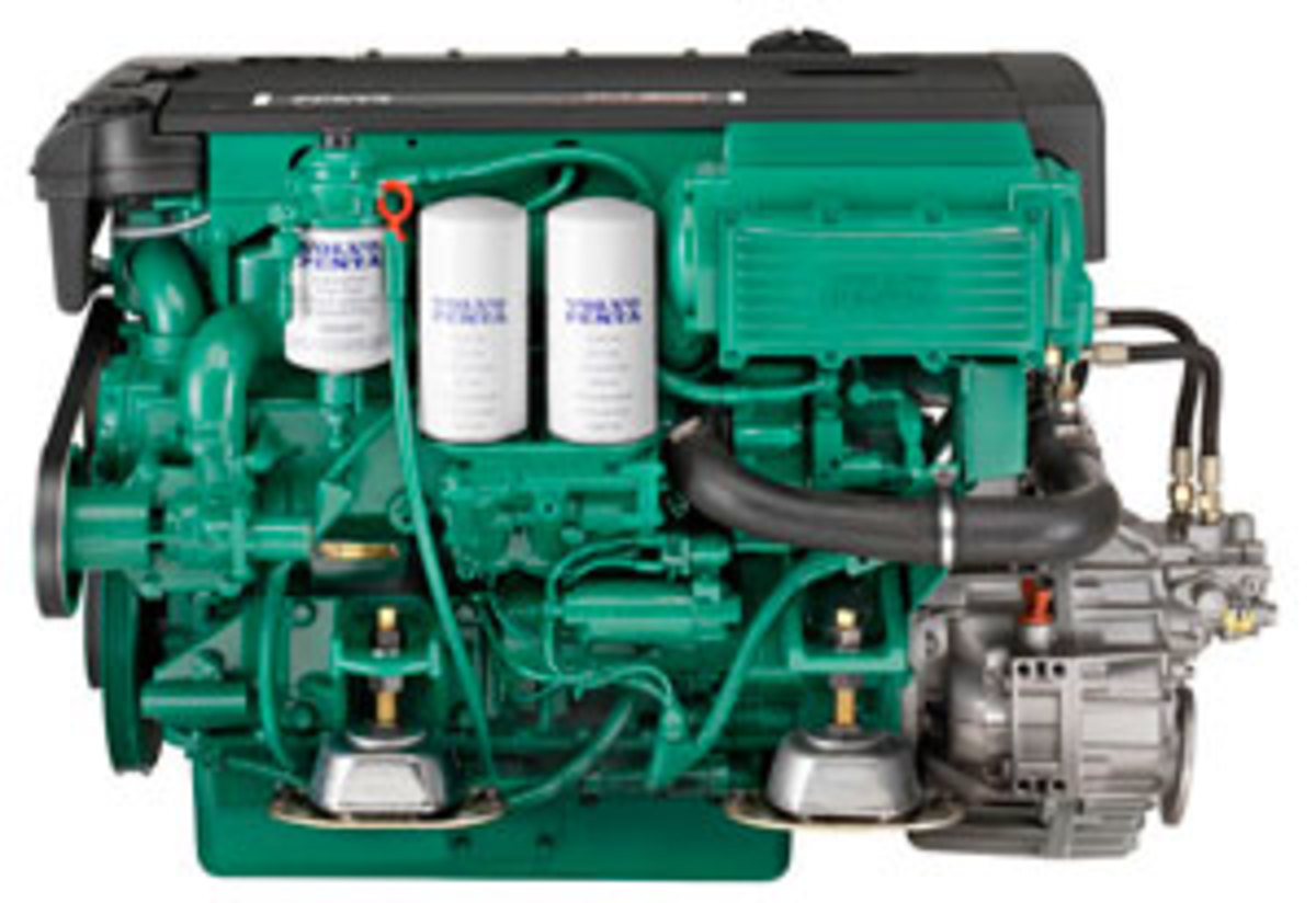 The Volvo Penta 300-mhp diesel inboard is a common-rail fuel-injected engine with dual overhead cams, an aftercooler, and a turbo.