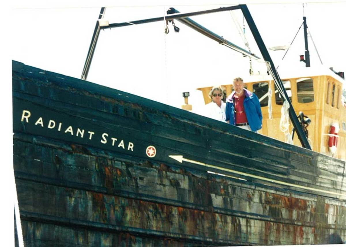 The Buchans onboard Radiant Star upon arrival in Anacortes, Washington