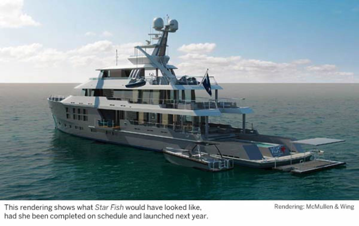 This rendering shows what Star Fish would have looked like, had she been completed on schedule and launched next year.