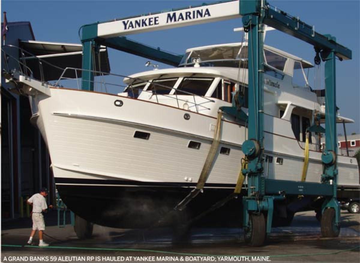 A Grand Banks 59 Aleutian RP is hauled at Yankee Marina & Boatyard; Yarmouth, Maine.