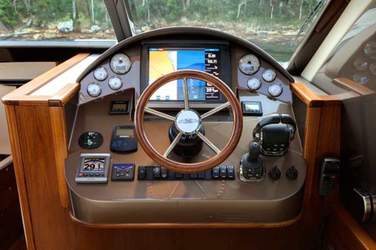 Helm on the Palm Beach Motor Yachts PB45