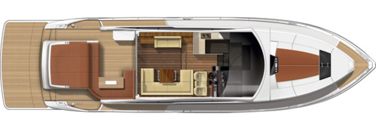 Fairline Targa 62GT - upper deck diagram