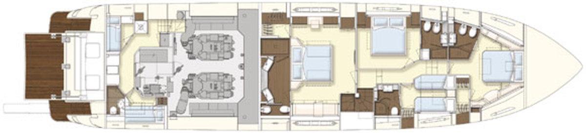 Ferretti 870 - lowerdeck layout diagram