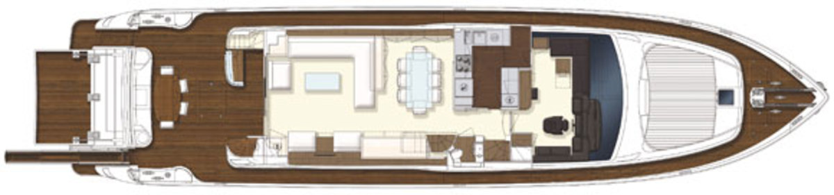 Ferretti 870 - maindeck layout diagram