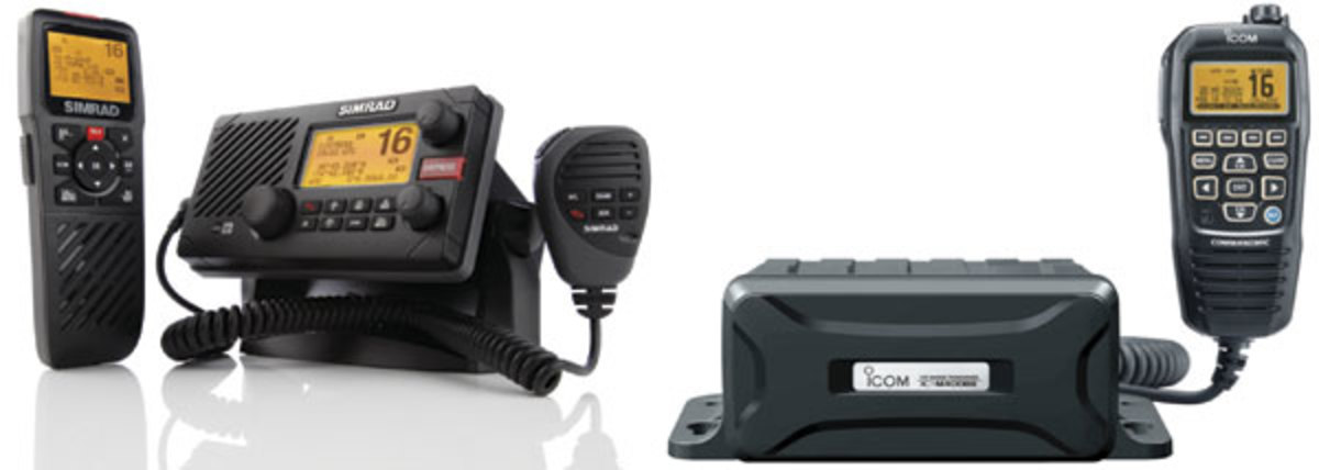 Simrad's RS35, and Icom's M400BB, can use smart remote microphones and DSC features.