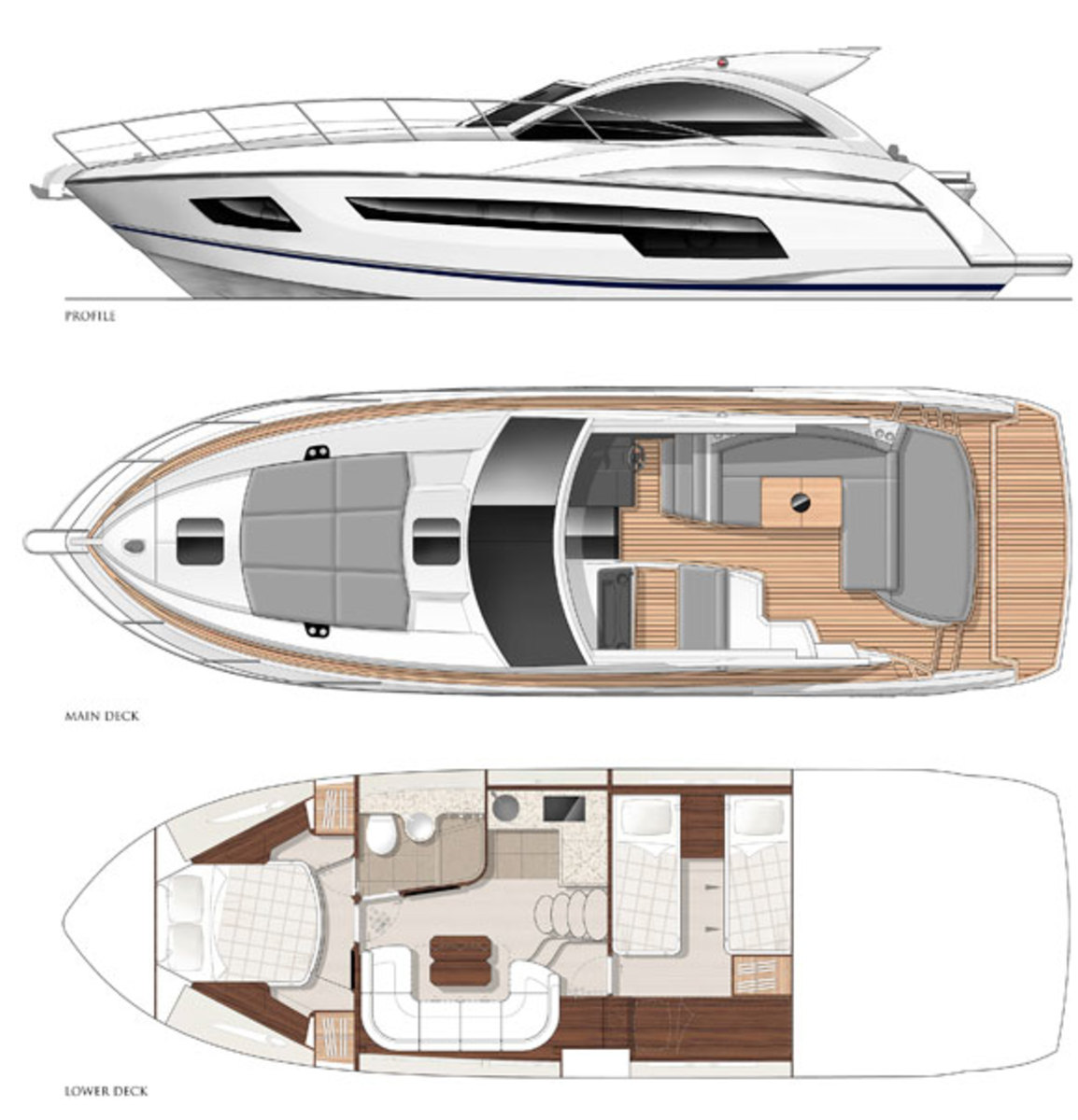 Sunseeker Portofino 40 Profile and layout diagram