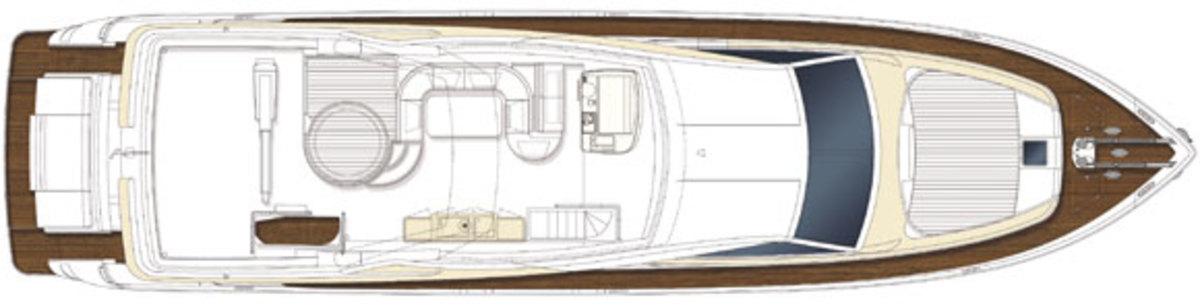 Ferretti 870 - sundeck layout diagram